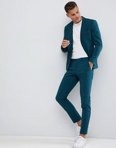 Lindbergh wedding slim fit suit pant in teal Mens Casual Suits, Dress Suits For Men, Stylish Mens Outfits, Trendy Suits For Men, Blazers For Men Casual, Blazer Outfits Men, Mens Fashion Blazer, Suit Fashion, Mens Blazer Styles