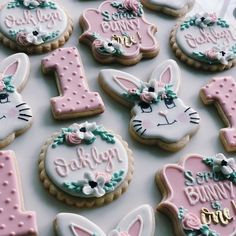Some-bunny is One Cookies - Kisses + Caffeine First Birthday Cookies, First Birthday Parties, First Birthdays, Birthday Ideas, Bunny Party, Icing Recipe, Decorated Cookies, Muted Colors, Easter Baskets