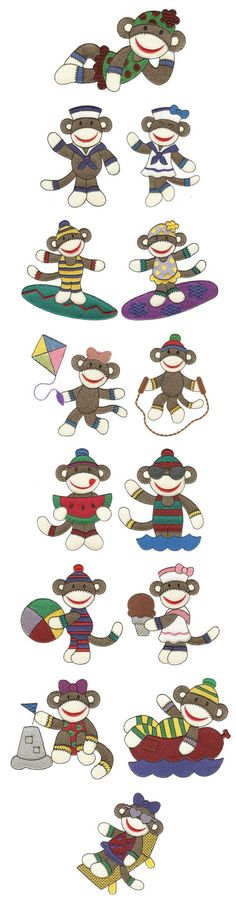 Embroidery | Free Machine Embroidery Designs | Summertime Sock Monkeys Filled