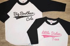 BIG brother LITTLE sister set - Kid's personalized NAME raglan baseball shirts - infant/ kids sizes