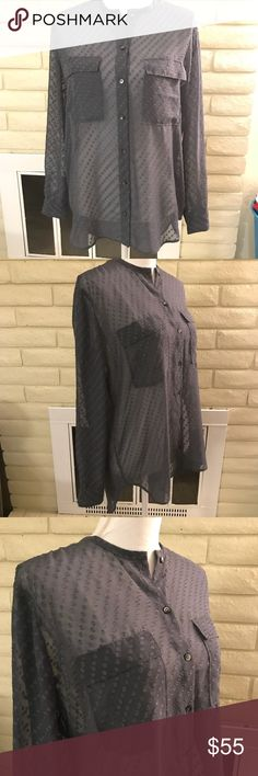 Madewell sheer polkadots oversized assmetrical B34 Beautiful Madewell blouse. 🌹NWOT 🌹sheer 🌹button down 🌹double breasted pockets 🌹polka dots 🌸Note: Security tag will be cut off prior to shipping to avoid alarm set offs at PO. Madewell Tops Blouses