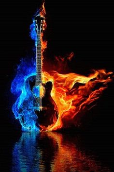 Fire Guitar with fire flames In This live wallpaper a beautiful guitar with fire flames and water reflection. Music Wallpaper, Galaxy Wallpaper, Wallpaper Backgrounds, Guitar Art, Cool Guitar, Music Pictures, Cool Pictures, Gif Pictures, Fire Animation