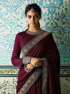 South Indian Bride Saree, Indian Silk Sarees, Indian Groom, Indian Bridal, Maroon Saree, Navy Blue Saree, Sari Blouse Designs, Designer Blouse Patterns, Trendy Sarees