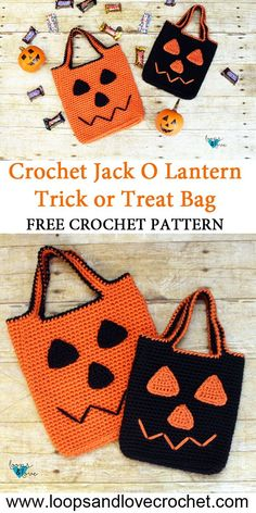 Make Halloween extra special for little ones with these crochet jack o lantern trick or treat bags! This easy pattern works up quickly and includes instructions for multiple sizes. The finished bag is sturdy and ready for an evening of fun and candy! Crochet Pour Halloween, Sac Halloween, Halloween Taschen, Halloween Night, Funny Halloween, Halloween Shirt, Crochet Fall, Love Crochet, Easy Crochet