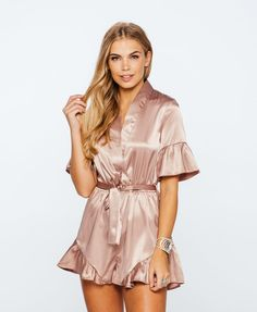 2e153bd1a09 Satin Wrap Ruffle Belted Playsuit