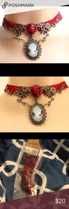 Choker   ❗️ ❗️ ❗️  Cameo Pendant Red Rose Lace Fashion Choker  ❗️ ❗️ ❗️ Jewelry Necklaces