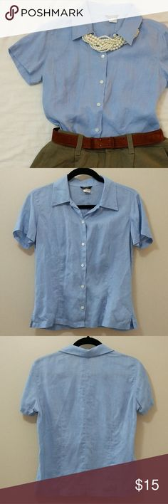 ⚠️reduced⚠️ J.Crew 100% linen blue button up Fitted and feminine shape in a pretty powder blue. 100% linen, short sleeved, perfect for summer. Runs a little short, would be best tucked into shorts or a summer skirt. Great condition, tag has some wear. pet and smoke free home. J. Crew Tops Button Down Shirts