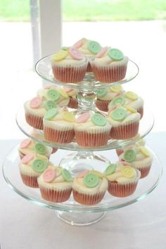 Button cupcakes at a baby shower #button #babyshower
