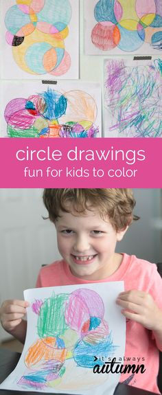 circle drawings - fun art for kids to color, and an easy activity to keep them busy!