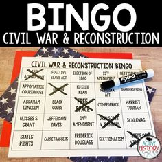 Civil War and Reconstruction Bingo - STAAR Review - Amped Up Learning Civil War Activities, 2nd Grade Math Games, Battle Of Antietam, Gettysburg Address, Jefferson Davis, Underground Railroad, Review Games, Dry Erase Markers, Addition And Subtraction