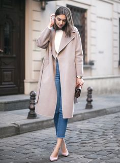 blue jeans with camel coat