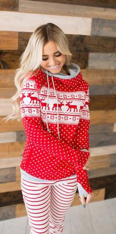 Red Reindeer Christmas Zipper Hoodie Sweatshirt Cute Christmas Outfits, Christmas Fashion, Holiday Outfits, Christmas Sweaters, Cute Outfits, Christmas Clothes, Hoodie Sweatshirts, Hoodies, Fall Winter Outfits