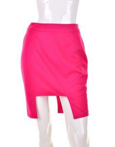 Bohemia Solid Rose Red Irregular Bodycon Skirt