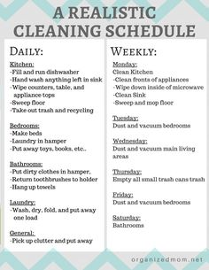 A realistic cleaning schedule moms can actually stick with. Organizing Tips. Cleaning Tips and tricks. Clean House Schedule, House Cleaning Checklist, Household Cleaning Tips, Diy Cleaning Products, Cleaning Hacks, Apartment Cleaning Schedule, Monthly Cleaning Schedule, Cleaning Check Lists, New House Checklist