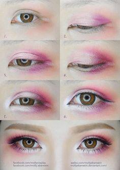 Cherry Blossom Eyes Makeup Tutorial by mollyeberwein.deviantart.com on @DeviantArt