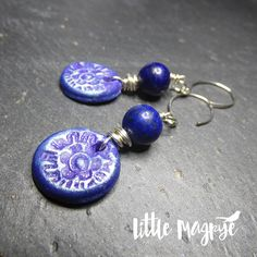 Lapis Lazuli round and Jujo design clay charm earrings