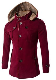 Generic Mens Winter Thicken Warm Outwear Trench Pea coat ...