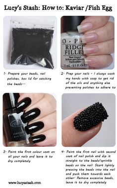 Lucy's Stash: Kaviar manicure tutorial http://www.lucysstash.com/2012/04/how-to-dyi-kaviar-manicure-for-less.html