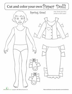 Worksheets: Seasonal Paper Dolls: Spring Girl   1st and 2nd grade