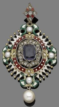 A gold and gem-set pendant, last quarter of the 19th century. Of Holbeinesque inspiration, the pierced oval-shaped plaque centrally-set with a similarly-shaped sapphire to a rose-cut diamond border, with polychrome enamel decorations and beading details, highlighted by pearls at each cardinal point, and suspending a later cultured pearl, mounted in gold. #RenaissanceRevival #antique #pendant