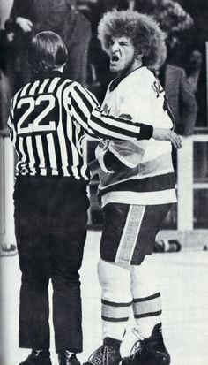 "Fighting Saints (WHA) action shot of Bill ""Goldie"" Goldthorpe, the real-life inspiration for Ogie Ogilthorpe in Slap Shot."