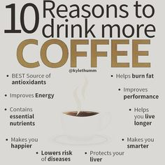 10 drink Reasons to more COFFEE!!   Comment if you cannot find the reason you are drinking coffee! 😀  Helps burn fat  antioxidants  improves Energy  Contain essential nutrients  Improves performance  Helps you live longer  Makes you happier  Lowers risk of diseases  Makes you smarter  Protects your liver    @coffeeknowledge1 📸 Coffee Drinks, Drinking Coffee, Coffee Brewing Methods, How To Make Coffee, Latte Art, Coffee Art, Live Long, Fat Burning, Are You Happy