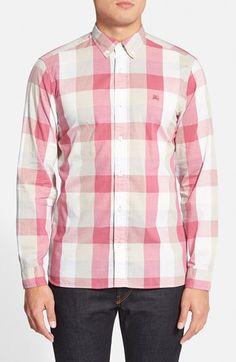 Men's Burberry Brit 'Fletcher' Trim Fit Plaid Sport Shirt