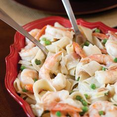 Pasta with Shrimp, Prosciutto, and Peas. Made this for dinner last night and its delicious! And so easy!