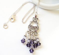 Purple Amethyest Crystal Sterling Silver Wired Heart by BijiBijoux, $55.00