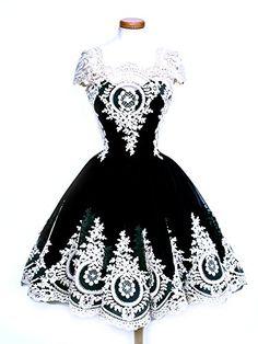 Graceful.u Vintage Women's Lace Square Neck Short Sleeve Dress