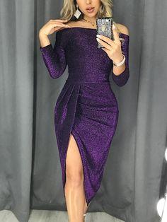Vestido de fiesta con aberturas en los muslos y hombros al descubierto de Shiny Off