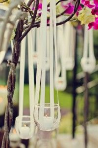Hanging votives- I have to figure out how to do this w/o glass and it will be hanging in the open windows.