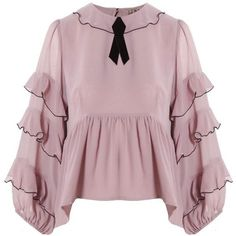 Souffle Top Lavender by For Love and Lemons. Romantic, feminine and flirty, this ruffled lavender top by From Love and Lemons is sure to make any outfit pop. Light Purple Shirt, Purple Blouse, Blouse Styles, Blouse Designs, Frilly Shirt, Ruffle Shirt, Looks Style, Fashion Dresses, Flutter Sleeve