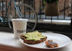 Morning Happiness. Vegemite toast with avocado and an almond milk cappuccino from Propeller.