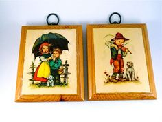 Hilde Prints  Wood Plaques one a boy with by MissPattisAttic