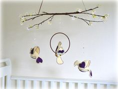 Bird mobile  Love birds in vineyard vanilla with by LullabyMobiles, $120.00