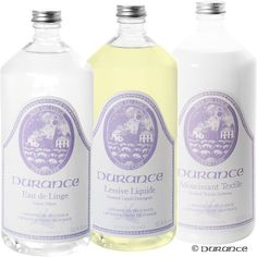 Durance offers 3 high quality products for a complete care of your machine:    - The Laundry Liquid extra smooth,  - The extra soft softener,  - Water of laundry.    Outstanding quality at a very good price!      To compose your Trio, choose your scent for each product: Lavender of Provence, Orange Blossom, Lime or in flower.