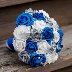 royal blue silver and white wedding bouquets - Google Search