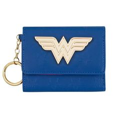 DC Comics Wonder Woman Mini Trifold Wallet w Keychain Ring WW Logo Blue Zipper #Bioworld #Trifold