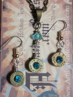 Bullet Casing Jewelry set 9mm Necklace and by ArtifactsNRelics