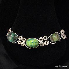 Sterling Silver, Green Lamp Work Glass Bracelet