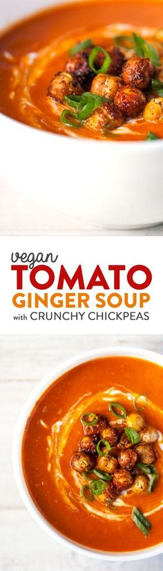 A fresh, creamy tomato soup spiked with ginger, coconut and scallions. The crunchy, addictive chickpea garnish offers a healthy alternative to traditional croutons.  A light, yet satisfying meal. Vegan & Gluten Free.