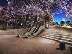 Gene Leahy Mall in downtown Omaha during the Holiday Lights Festival (Thanksgiving through early January each year).