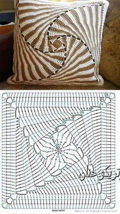Super Ideas For Crochet Granny Square Blanket Cushion Covers - Wzory szydełkowe Crochet Bedspread Pattern, Crochet Motifs, Crochet Cushions, Crochet Pillow, Scarf Crochet, Crochet Squares, Diy Crafts Crochet, Crochet Projects, Point Granny Au Crochet