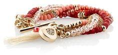 Coral Beaded Toggle Tassel Bracelet