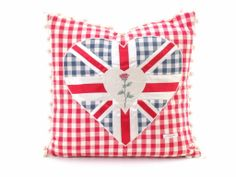 The Bee's Knees British Imports - Double heart Gingham Cushion, $125.00 (http://www.thebeeskneesbritishimports.com/products/Double-heart-Gingham.html)