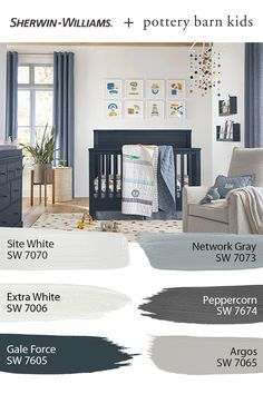 For paint colors perfect for a nursery or kids' bedroom, tap this pin to explore the entire @potterybarnkids Spring/Summer 2020 palette from Sherwin-Williams.#sherwinwilliams #potterybarn #potterybarnkids #pbkids #kidsroom #nursery #decor #design #paintinspo #diy #paintproject Beach Paint Colors, Nursery Paint Colors, Paint Colors For Home, House Colors, Paint Colours, Pottery Barn Paint, Pottery Barn Kids, Painting For Kids, House Painting
