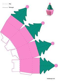 Christmas tree to print and cut # Christmas card - Carte de Noël Handmade Christmas, Christmas Crafts, Christmas Decorations, Christmas Tree, Christmas Ornaments, Christmas Print, Diy Gift Box, Diy Gifts, Diy For Kids
