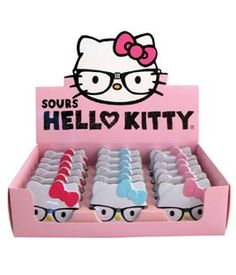 nerd hello kitty with glasses tin candy sours for party favors