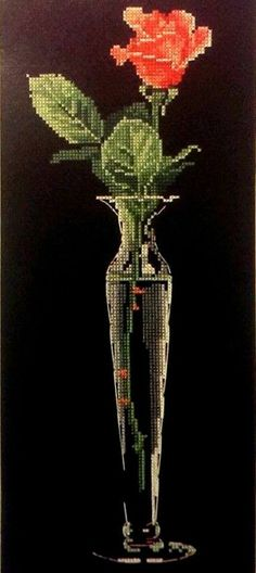A Single Rose Sunset Counted Cross Stitch Kit 6x16 Rosebud Crystal Vase Elegant